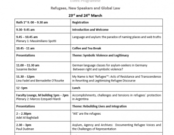 Research Impact in Action Workshop Event Programme Refugees, New Speakers and Global Law 23rd and 24th March